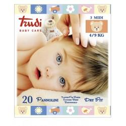 Silc Trudi Baby Care Pannolini Dry Fit Midi 4/9 Kg 20 Pezzi
