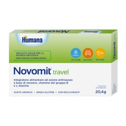 Humana Novomit Travel Integratore contro nausea da viaggio e gravidica 12 Gomme Da Masticare Gusto Arancia