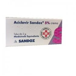 Sandoz Aciclovir crema dermatologica 5% per herpes labiale 3 g