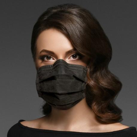 Thd Face Mask Mascherina Chirurgica Total Black tipo IIR 20 pezzi (Nera)