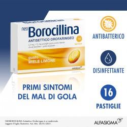 Alfasigma Neoborocillina Antisettico Orofaringeo Miele e Limone 16 Pastiglie