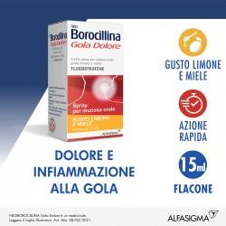 Alfasigma Neoborocillina Gola Dolore 1 Flaconcino Spray Mucosa Soluzione Orale 15 Ml 0,25% Limone E Miele