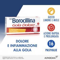 Alfasigma Neoborocillina Gola Dolore Limone & Miele Senza Zucchero 16 Pastiglie